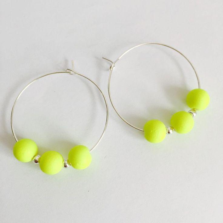Neon Yellow Hoop Earrings . Festival Earrings/jewellery #Hoop