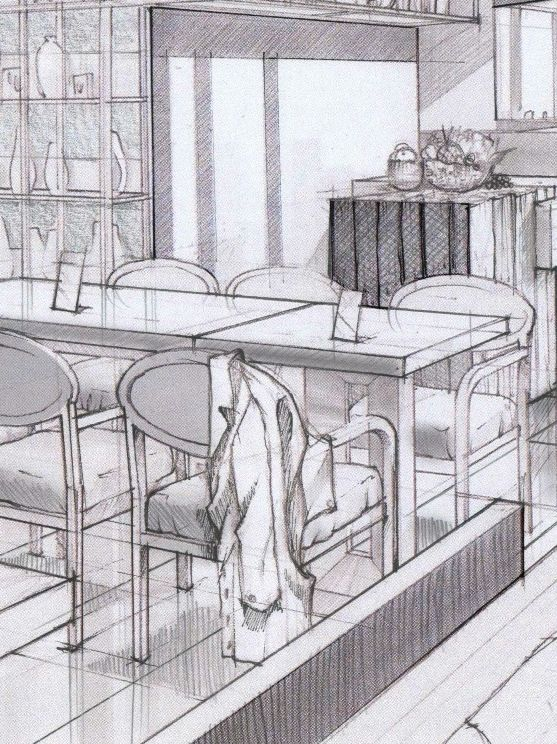 Interiors In Graphite Sketches On Behance By Cristine De Felix