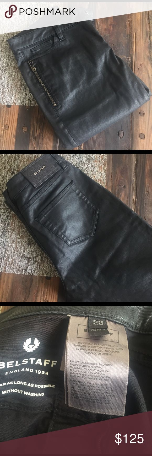Balstaff coated cotton ankle jeans Channel your inner rock chick with these black coated jeans. Cropped/ankle length let you show off your shoes and allows you to take those from day to night. The best part is that they are totally washable. Belstaff Jeans Ankle & Cropped