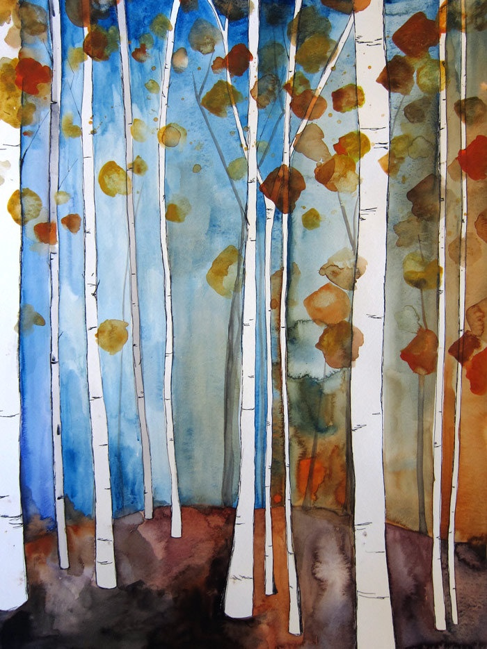 SALE 30% Off Fall Leaves II 8x10 Print Watercolor by Mai Autumn. $16.80