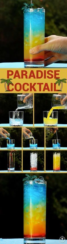 With grenadine, coconut rum, pineapple juice, and Blue Curaçao, this Paradise Cocktail is so visually striking you will fool everyone into thinking you're an expert bartender/mad scientist. {wineglasswriter.com/}