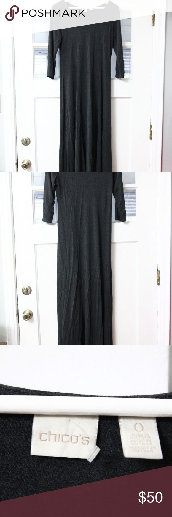 Chico's Hi Low Maxi Dress Sz 0 Small Gray Jersey Chico's hi low maxi dress in size 0/small. Rayon 95%, spandex 5%, machine wash.  Measurements Bust 40 inches Length 59 inches down mid back  inventory 12-107 Chico's Dresses Maxi