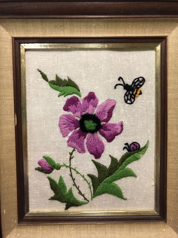 Vintage Small Framed Crewel Wall Hanging Hand Embroidered Etsy Embroidered Flowers Lavender Walls Hand Embroidered