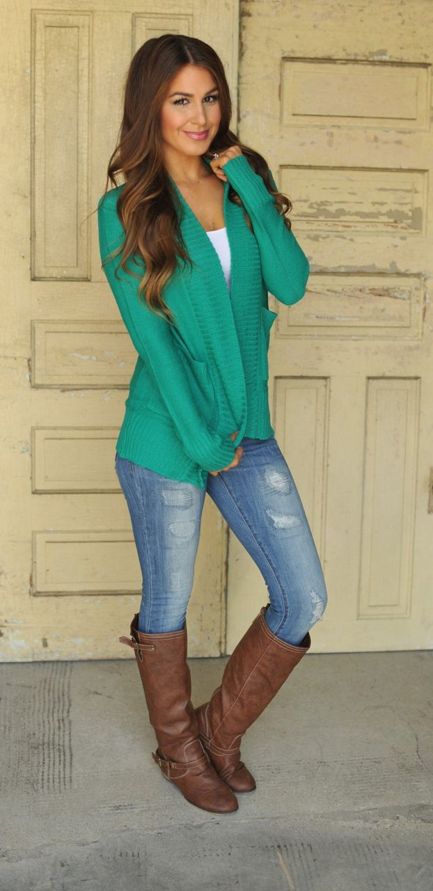 Dottie Couture Boutique - Sweater Cardigan- Teal , $28.00…