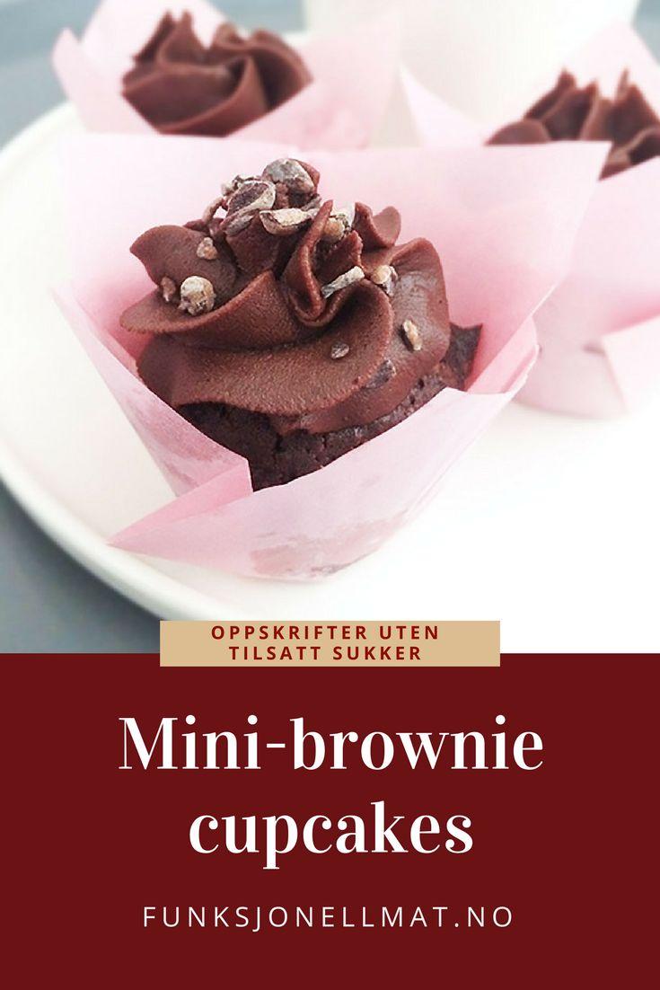 Mini-brownie cupcakes - Funksjonell Mat | Sukkerfri dessert | Sukrin | Bakeglede | Brownie oppskrift | Cupcakes oppskrift | Sjokolade dessert