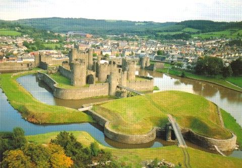*Caerphilly Castle in Wales