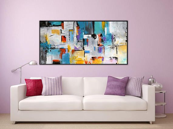 Large Contemporary Abstract Painting On Canvas Panoramic Palette