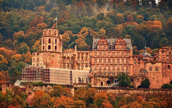 Download wallpapers Heidelberg Castle, mountains, autumn, Germany, old castle, reconstruction, Heidelberg