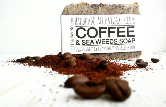 Coffee and Sea Weeds Soap A great exfoliator with freshly brewed coffee, sea weeds and ivy oil. https://www.etsy.com/listing/209339180/coffee-scrub-soap-cellulite-scrub-soap