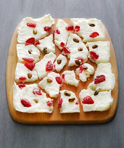 Yogurt Bark: This candy-like treat is made by freezing yogurt and then breaking into bark-like shapes. There are no rules here, so add whatever your family likes best. Dried fruit and granola would also be super tasty.