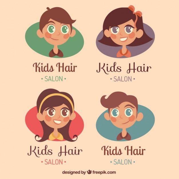 Children Hair Salon Logo Collection Free Vector                                                                                                                                                                                 Mais