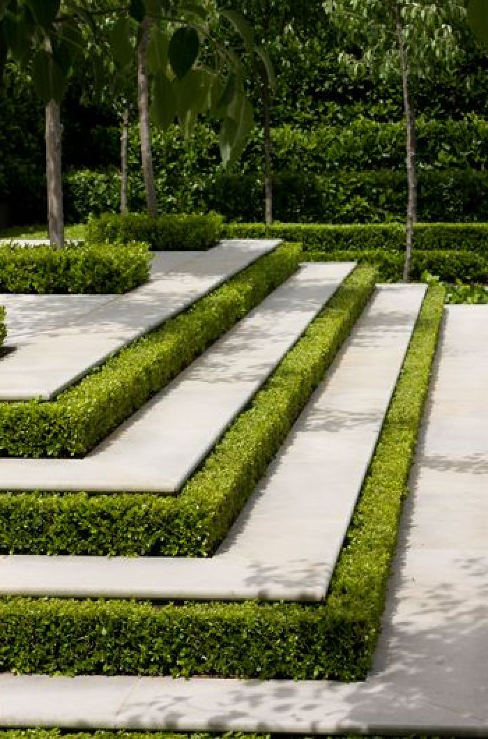 Boxwood and concrete combine to create a magnificent staircase!