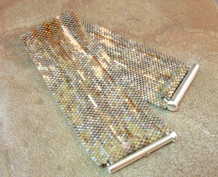 Wide Beadwoven Abstract Bracelet. $135.00, via Etsy.