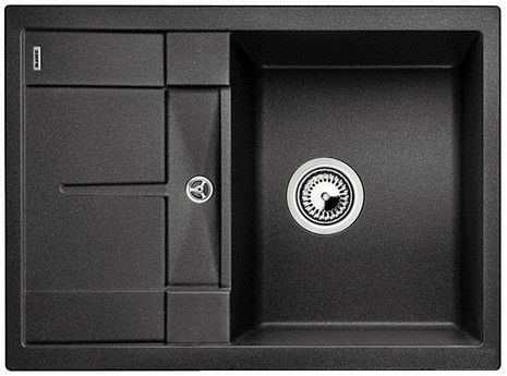 Metra 45 S Compact Blanco Siligranit zlewozmywak 500x680 korek manualny antracyt - 519561  http://www.hansloren.pl/Zlewozmywaki-granitowe/Zlewozmywaki-1-komorowe/BLANCO