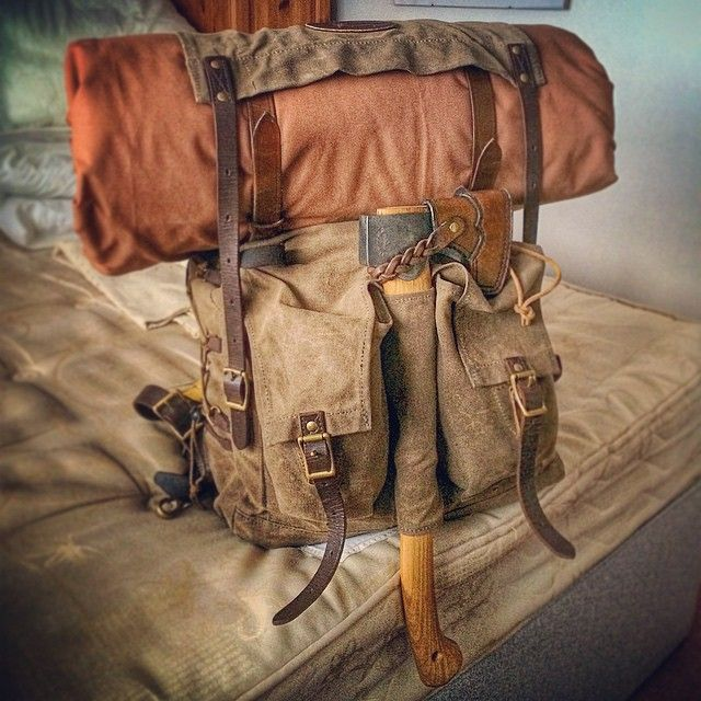 Canvas rucksack with axe and bedroll