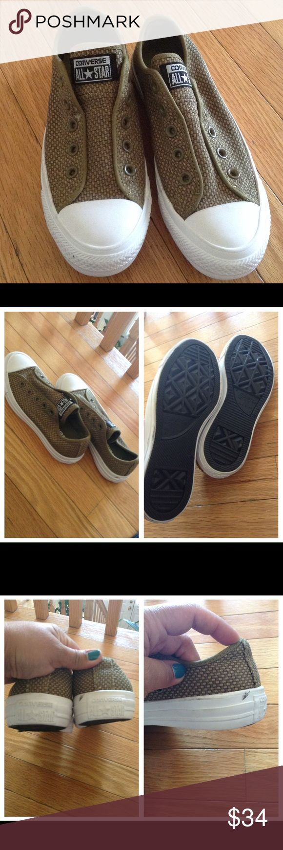 ✨Women's 💯 Converse All Star Ox Woven Slip On✨ ✨Converse Ox Woven Casual Sneakers✨Slip On✨Model #146441F✨Cactus Color✨REPOSH - did not fit me, could never figure out Converse sizing✨Hopefully YOU can give it a new home✨My lost, your gain!!!✨No box✨Scuff shown in pics Converse Shoes Sneakers