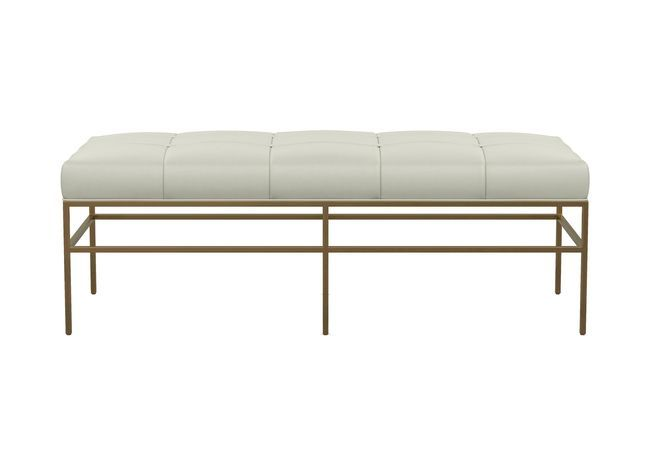 Ferri Upholstered Leather Metal Bench With Images Upholstered