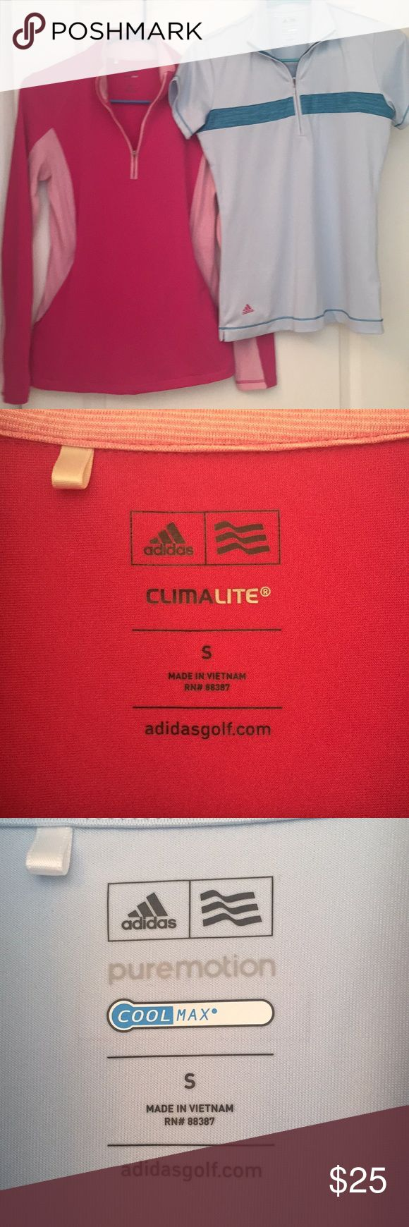 🏌🏻♀️Women's Adidas Top Bundle 💕Comfy and casual Pink/White pullover (ClimaLite)with 2 front zip pockets💕Turquoise/Baby Blue/Pink accented zip front (pure motion/coolmax) adidasgolf Polo shirt😂Great together or worn separately! Extremely comfortable! Great condition, only worn a few times💕 adidas Tops Sweatshirts & Hoodies
