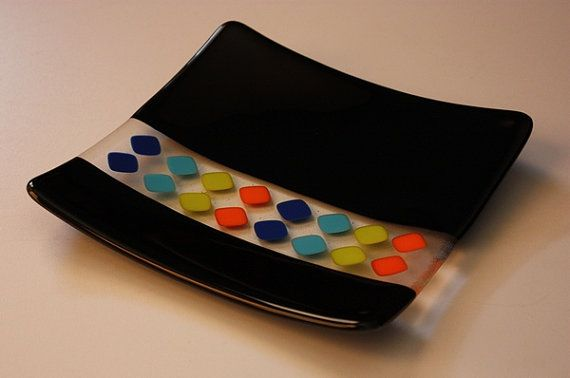 Fused Glass Plate Black With Bright Colors by OnlineGlass on Etsy