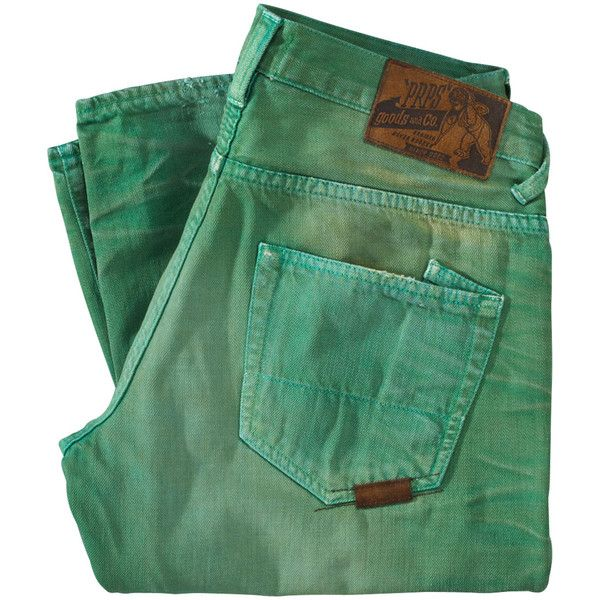 PRPS GOODS & CO. Jeans ($130) ❤ liked on Polyvore featuring men's fashion, men's clothing, men's jeans, pants, jeans, bottoms, folded, mens ripped jeans, mens distressed jeans and mens green jeans