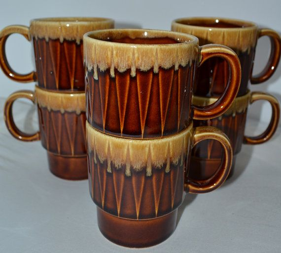 Vintage Coffee Mugs  drip glaze 70's  retro by AntiqueRetroVintage, $21.00