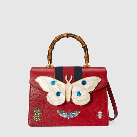 Lovely Gucci Leather top handle bag with moth
