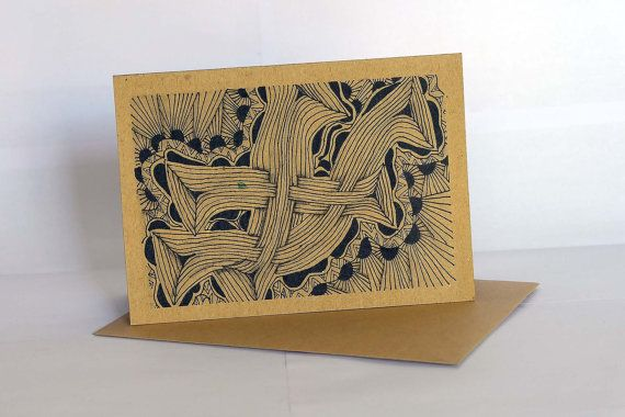 Handmade greeting card style GC001 set of 3 - ethnic abstract drawing - all occassion