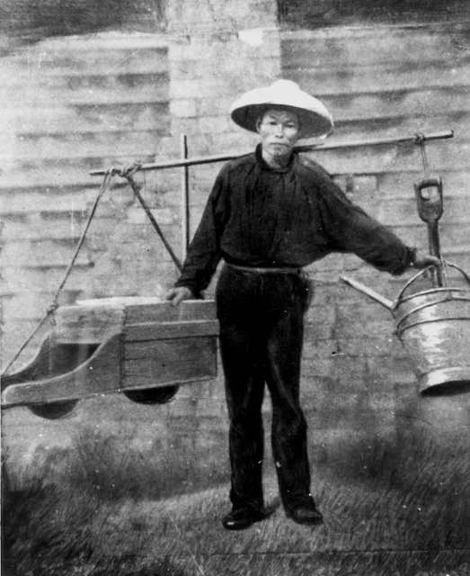 Chinese gold digger starting for work, ca. 1860s by State Library of Queensland, Australia,