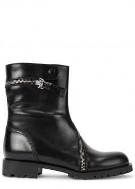 Black zipped leather biker boots, Alexander McQueen @ Harvey Nichols, London