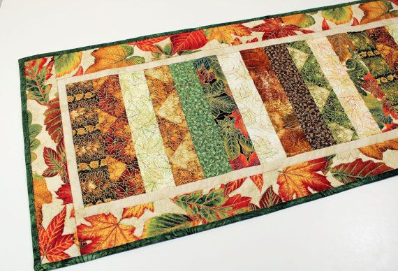 Fall Leaves Table Runner Quilt Orange Green by QuiltSewPieceful