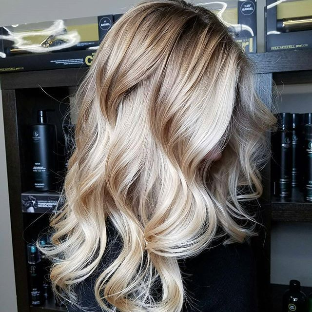 Creamy Vanilla Blonde ❤❤ Balayage hilites using @oligopro toned with PM SHINES 9NB and 9V