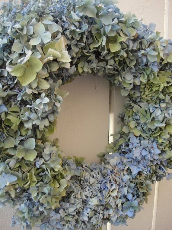 Hydrangea Wreath Dried Hydrangea Wreath Summer by donnahubbard, $55.00