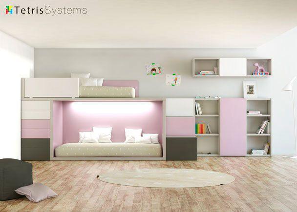 Habitación Infantil: Litera juvenil Rubbik con librería | Litera RUBBIK para dos colchones de 90 x 190 con módulo sinfonier y escalera de 3 peldaños + módu