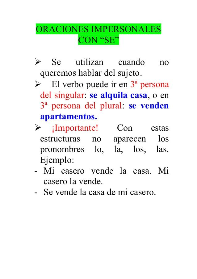 Oraciones Impersonales Con Learning Spanish Learning Spanish