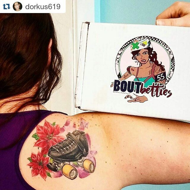 How amazing is this shot from our #brandambassador Bex aka Point Setta?! We are absolutely diggin' that tattoo  #Repost via @dorkus619 ・・・ Look what arrived yesterday! Bout Betties roller derby subscription box!  SO MANY GOODIES!  Get yours www.boutbetties.com