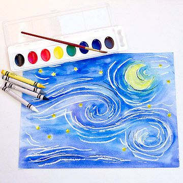 Let imagination shine through this star-filled sky.                 What You'll Need:  White paper; crayons (white, gray, black, and yellow); gold star stickers; watercolor paints; paintbrush                 Make It:  Van Gogh repeated strong, swirling lines to convey movement and emotion in this famous painting. Although van Gogh sold only one painting in his lifetime, Starry Night is one of the world's most well-known images because of its vibrant colors, bright stars, and fearless style…