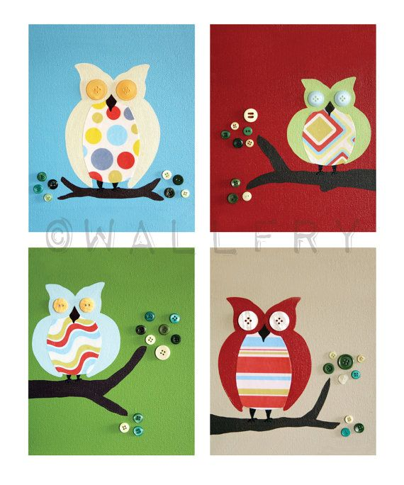 Owl prints nursery art. Owls for boys and girl baby by Wallfry