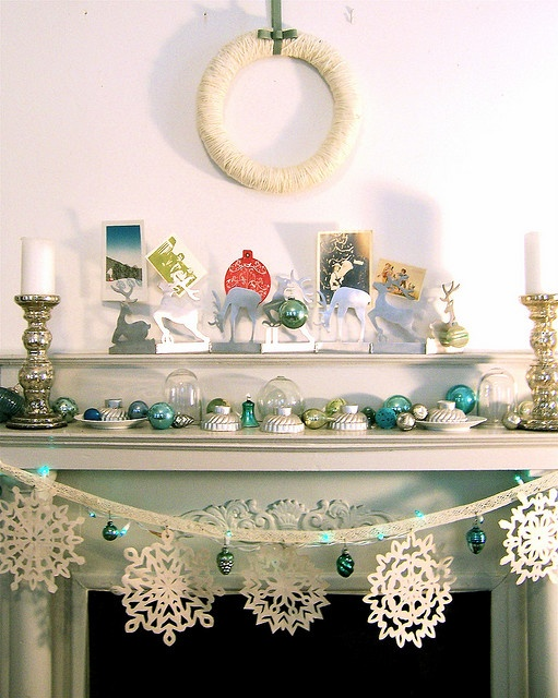 loving this snowflake garland #onekingslane: Fireplaces Mantels, Vintage Christmas, Christmas Decor Ideas, Christmas Fireplaces, Snowflakes, White Christmas, Holidays, Garlands, Christmas Mantles