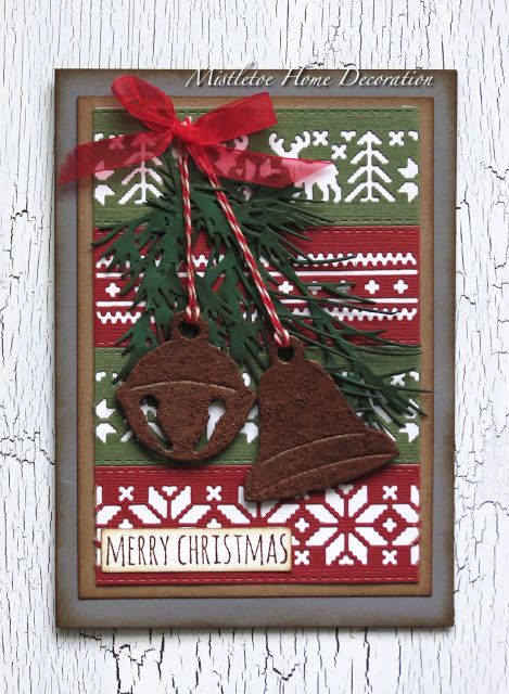 Mistletoe Home Decoration: Tim Holtz holiday knit with rusty bells