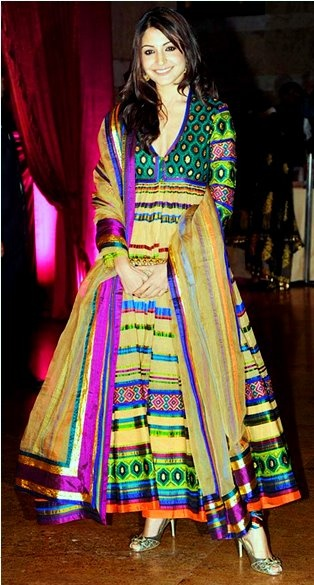 """This is an Indian """"Anarkali Dress"""" worn by Bollywood Diva Anushka at a Wedding Reception."""