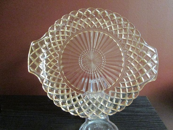 WATERFORD PINK DEPRESSION GLASS WAFFLE VANITY SERVING TRAY ART DECO CAKE PLATE! #ArtDeco