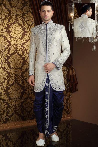 Beige Yellow Benarasi Silk Embroidered Wedding and Festival Sherwani Sku Code:184-2572SH224716 US $ 529.00 http://www.sareez.com/product_info.php?products_id=113969