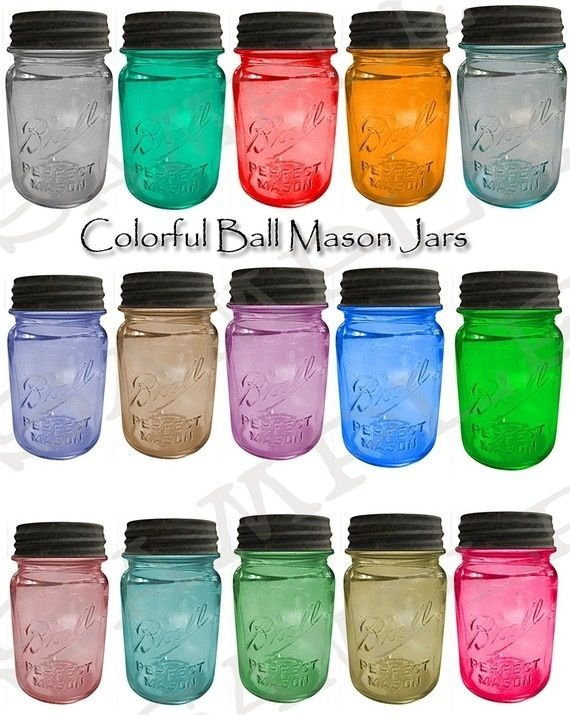Colorful Ball Mason Jars Collage Sheet by on Etsy