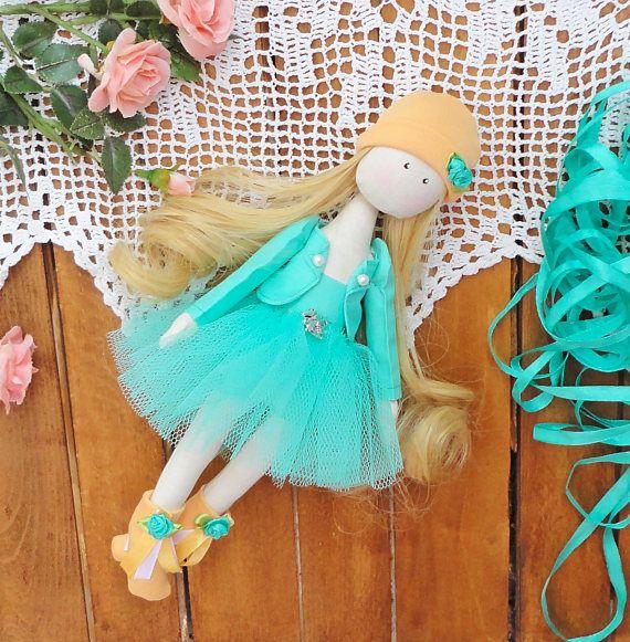 Textile green doll ballerina doll textile handmade Beauty