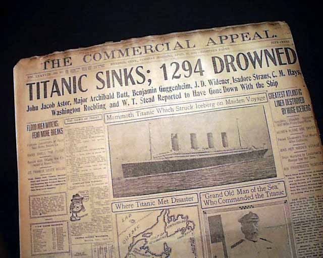 """Historic Newspaper - THE COMMERCIAL APPEAL, Memphis, Tennessee, April 16, 1912  """"Titanic Sinks; 1294 Drowned"""""""