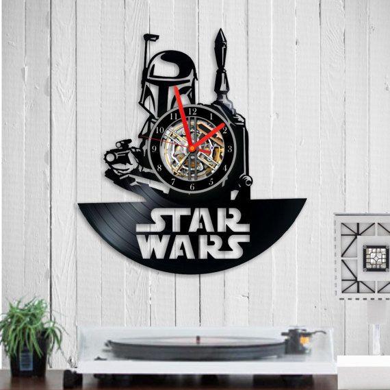 Boba Fett vinyl clock Star Wars Star Wars wall by Indigovento