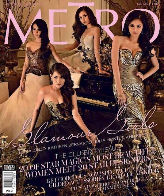 Star Magic's glamour girls Bea Alonzo, Kathryn Bernardo, Julia Montes and Kim Chiu by Xander Angeles on the cover of Metro Magazine (August 2012)