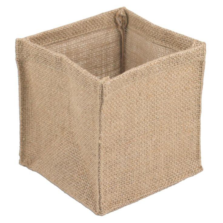 5 x 5 x 5 square burlap vase holder or pot holder for Decorative burlap bags