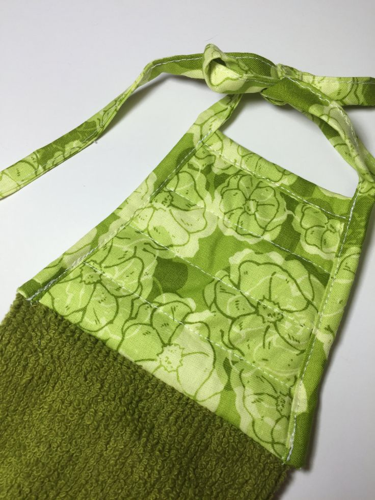 Green Kitchen towel,Green Towel,Green Hand Towel,green dish towel,flower towel,kitchen decor,hanging towel,towel with ties,gift for her,gift by thestuffedcat on Etsy