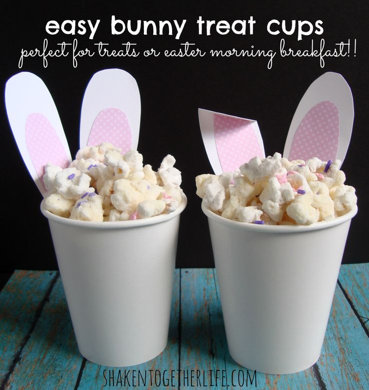Easy Easter bunny treat cups - they even have fluffy tails! would be good drizzled with chocolate or with Easter M &M's